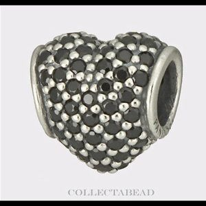 Pandora - Black Pave Heart charm